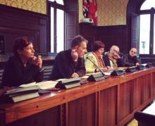 La conferenza stampa di presentazione dei due festival. Da sinistra: Maria Martinelli, Franco Calandrini, l'assessora Elsa Signorino, Nevio Galeati, Alberto Achilli